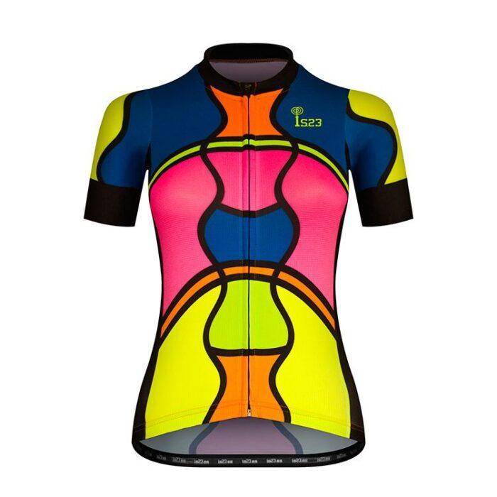 Maillot Corto Aura Mosaico Delantera - IS23 Tienda Online Ciclismo para Mujer